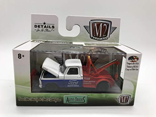 M2 Machines Auto-Trucks 1967 Ford F-100 Tow Truck 1:64 Scale R46 17-88 Blue/White/Red Details Like NO Other! Over 42 Parts 1 of 6888 ()