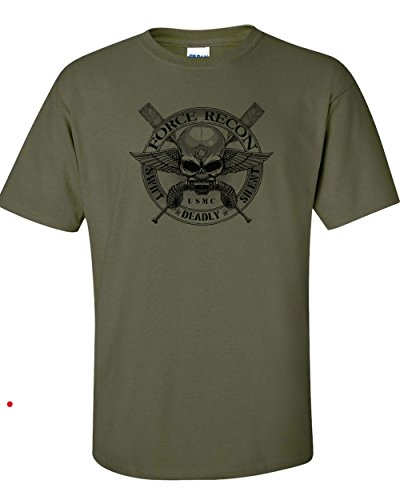 Recon Marine - All Things Apparel Marine Force Recon Front and Back Men's T-Shirt - XL Military Green (ATA832)