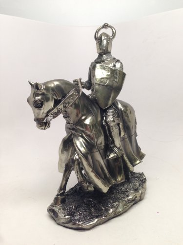 (PTC Pacific Trade SS-PTC-9957 Crusader Knight Riding A Horse with Shield Statue Figurine, 9)