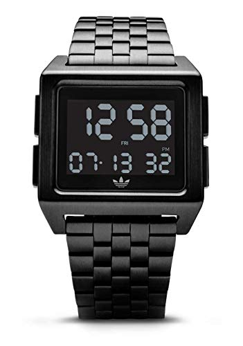 adidas Originals Watches Archive_M1. Men's 70's Style Stainless Steel Digital Watch with 5 Link Bracelet (36 mm) -All Black