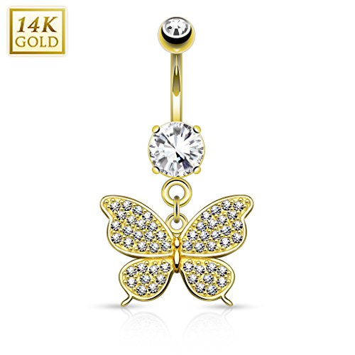 West Coast Jewelry {Yellow Gold}14Kt Gold Butterfly Dangle with Micro Pave CZ Belly Button Navel Ring - 14GA (Sold Ind) 14kt Gold Butterfly Belly Ring