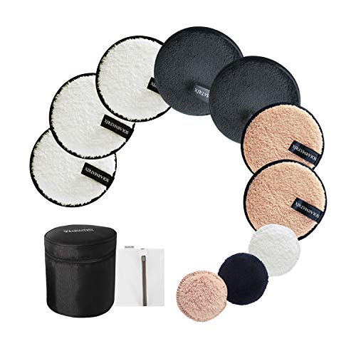 Reusable Makeup Remover Pads: 7-Pack ( 3.7inch) Coming with Laundry Bag, Travel Bag and 3 Eye Pads – Soft Chemical-free…