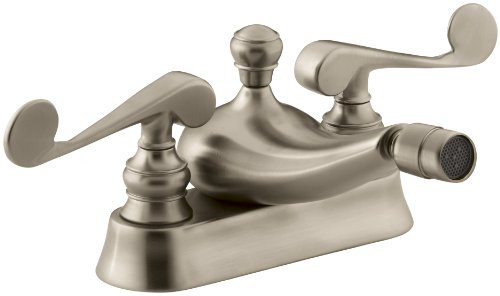 (KOHLER K-16131-4-BV Revival Centerset Horizontal Swivel Spray Spout Bidet Faucet with Scroll Lever Handles, Vibrant Brushed Bronze)