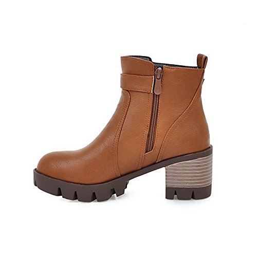 AgooLar Women's Kitten-Heels Soft Material Low-Top Solid Zipper Boots Yellow xYaGzFfE
