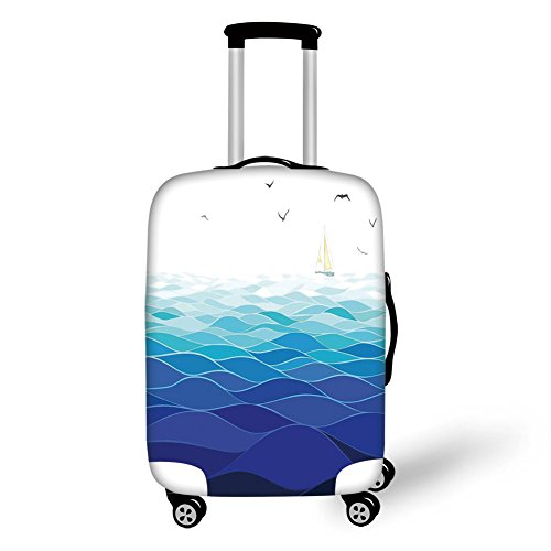 (Travel Luggage Cover Suitcase Protector,Aqua,Graphic Ocean Waves Sailboat with Birds Seagulls Seascape Horizon Maritime,Navy Blue Aqua White,for Travel)