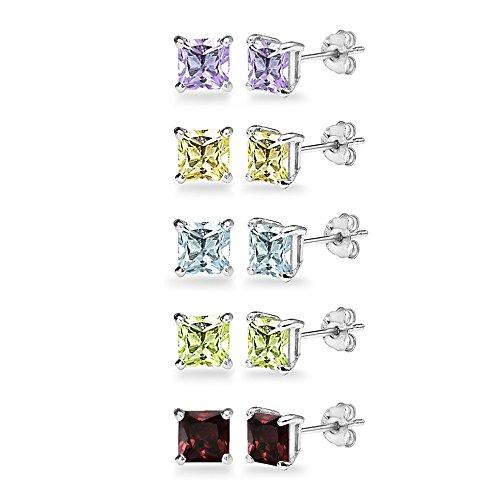 - 5-Pair Set Sterling Silver Amethyst, Blue Topaz, Citrine, Garnet & Peridot 5mm Princess-Cut Square Stud Earrings