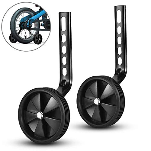 ZOSEN Bike Training Wheels Bicycle Stabilizers for Kids Bike Support Wheels for 12 14 16 18 20 Inch Bicycle (Black, 1 Pair)