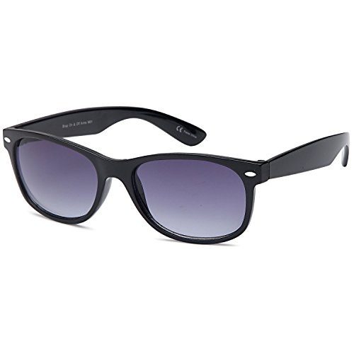 GAMMA RAY UV400 Classic Style Sunglasses - Gradient Grey Lens on Black - Sunglasses Gradient