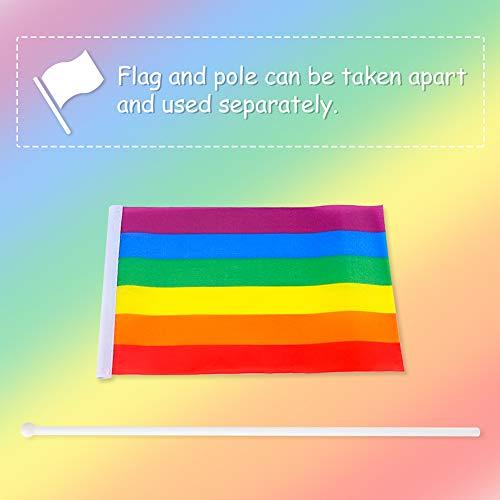 FUTUREPLUSX Rainbow Stick Flag, 24PCS 5 x 8 inch Mini Gay Pride Flags Handheld Stick Flags Small Rainbow Flag