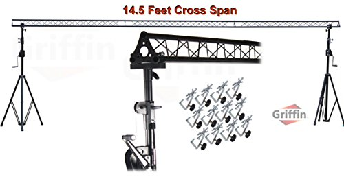 Crank Up Triangle Light Truss System by Griffin|DJ Trussing Stand for Light Cans & Speakers|Pro Audio Stage Lighting Hardware Package|Equipment Mount|Portable Gear Holder for Parties, Music, Live Gigs ()
