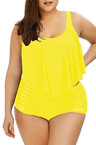 Sovoyontee Women Bright Yellow Ruffle Flounced High Waisted Plus Size Swimwear Size 16 2XL