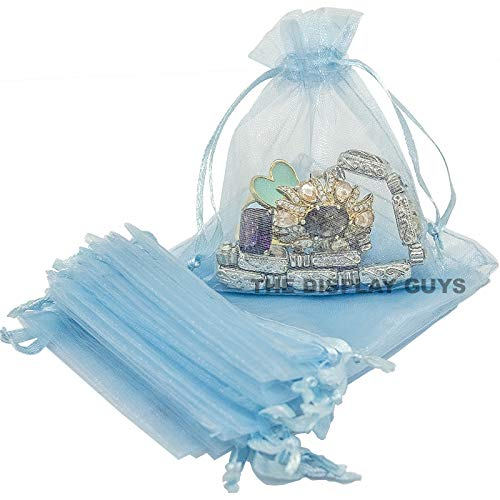 The Display Guys 100-pc 3x4 Blue Sheer Organza Gift Bag with Drawstring, Jewelry Candy Treat Wedding Party Favors Mesh Pouch