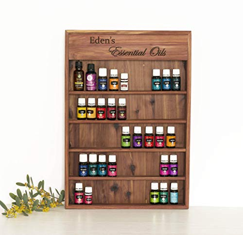 (Personalized Engraved Essential Oil Storage Wood Shelf Wall Rack)