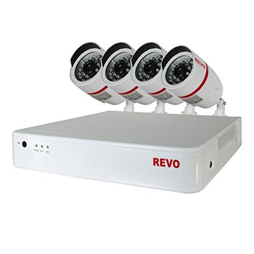 REVO America R4BF-5G 4-CH 500GB 720p DVR Surveillance System with 4 Cameras (White)