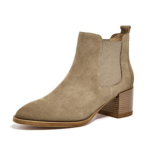 Dress Thick Work Beige Office Winter Slip Chelsea Fall Elastic Joymod Boots Ankle on Women's Pointed Toe Booties Mid Heel MGM qH8T4wZa