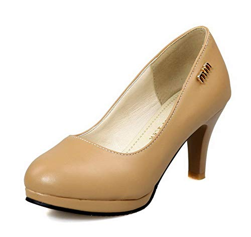 AllhqFashion Women's Pull-On High-Heels Solid Closed-Toe Pumps-Shoes, FBUDC009633,