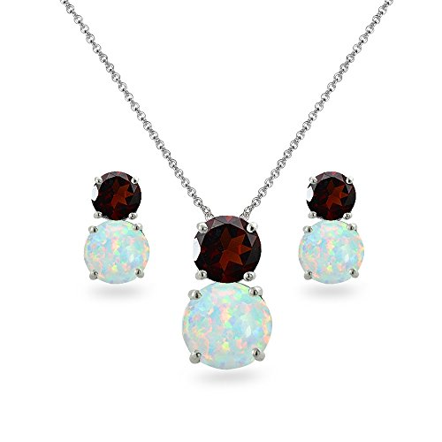 Sterling Silver Garnet & Simulated Opal Double Round Stud Earrings & Necklace Set