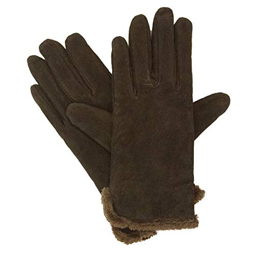 Isotoner Women's Suede Glove with Side Vent and Fur Trimmed Cuff, Large Brown