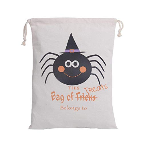 Halloween Cute Witches Candy Bag, Outsta Children Party Drawstring Pouch Packaging Bags Storage Bag Gift Simple Hanging Sack Khaki (E)