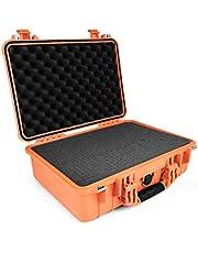 PELI 1500 waterdichte camerabehuizing, IP67 beoordeelde 40L capaciteit, gemaakt in Duitsland, met aanpasbare schuiminlay, oranje