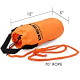 Best Marine Throw Bag Rescue Rope with 70 Feet of Marine Line. Throwable Flotation Device for Kayaking and Boating. High Visibility Water Rescue Safety Equipment for Kayak and Boat Emergency