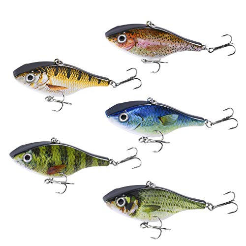 Magreel Lipless Fishing Crankbaits Set, VIB Lures with Treble Hook, Rattle Track Lures 3D Fishing Eyes for Trout, Walleye Redfish (5 Pack) (Best Treble Hooks For Crankbaits)
