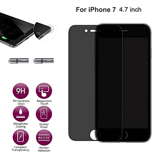 Screen Protector For iPhone 7 Case [4.7inch], Gotd Anti-Spy Privacy Tempered Glass Screen Protector Design Protective Film for iPhone 7 (Black)