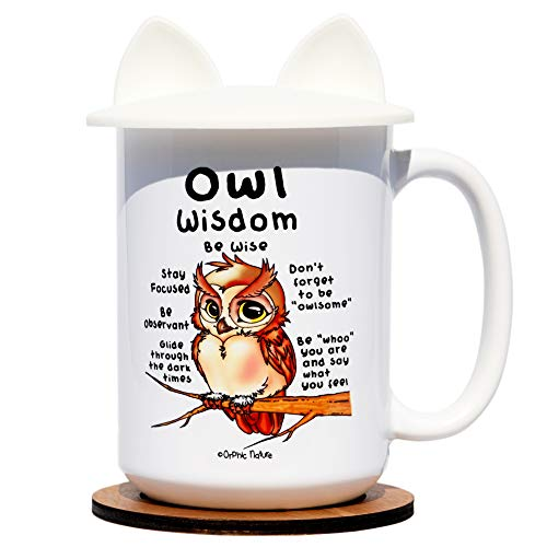 Orphic Nature Funny Mug Coaster Silicone Lid Bundle - Owl Wisdom - Large 15 ounce Inspirational Owl Mug Birthday any Special Occasions. Laugh Friends, Family Coworkers.