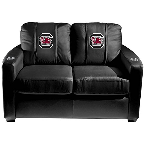XZipit College Silver Loveseat with South Carolina Gamecocks Logo Panel, Black
