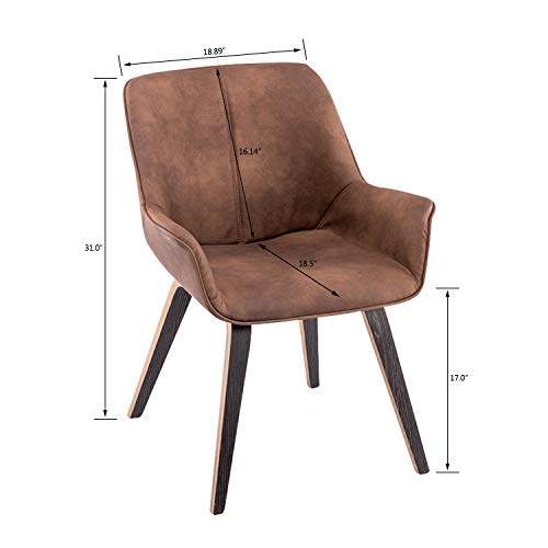 YEEFY Brown Leather Dining Chairs with arms Leather Side Chairs Set of 2 (Brown) by YEEFY (Image #2)