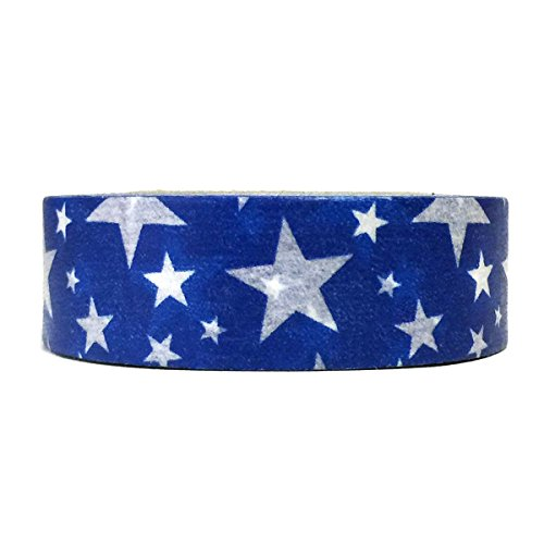 Allydrew Decorative Washi Masking Tape, Royal Blue Stars