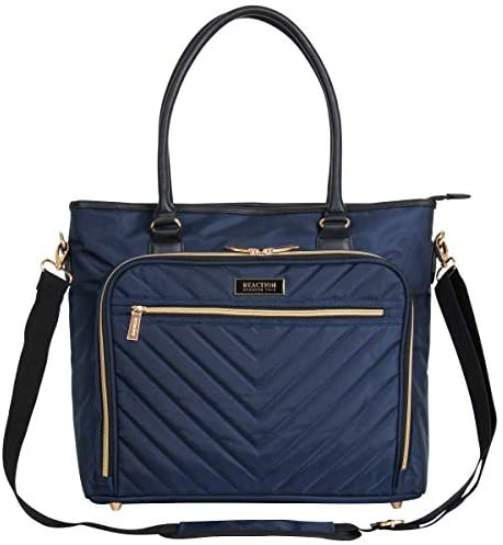 "Kenneth Cole Reaction Chelsea Quilted Chevron 15"" Laptop & Tablet Business Tote With Removeable Shoulder Strap, Navy"