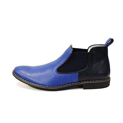 Modello Giacobbe - 44 EU - Handgemachtes Italienisch Leder Herren Blau Stiefeletten Chelsea Stiefel - Rindsleder Geprägtes Leder - Schlüpfen