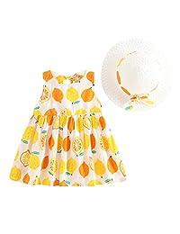 OCEAN-STORE Princess Dresses + Hat Set Baby Kids Girls Summer Fruit Print Casual Outfits