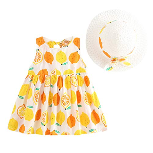 TEVEQ Toddler Baby Kids Girls Princess Dresses Summer Fruit Hat Casual Outfits Set Yellow]()