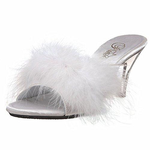 Fabulicious Women's 3 Inch Heel Fur Sandal (White Satin;14)