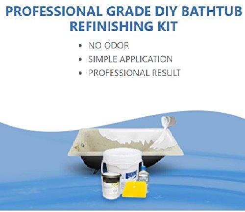Odorless Bathtub Refinishing Kit, 6.7 lbs, Pour-On Application, Mirror Gloss Finish, ()