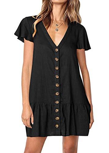 DRIBET Women's Polka Dot V Neck Button Down Ruffles Casual Loose Fit Swing Mini Short T-Shirt Dress (Black, XL)