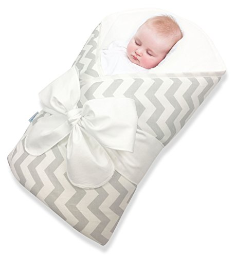 Bundlebee Baby Wrap/Swaddle/Blanket - Built-in Organic Infant Pad - Perfect for Bassinet and Easy Crib Transition - Lightweight - Gift Packaging - Newborns - Summer/Winter - Grey Chevron
