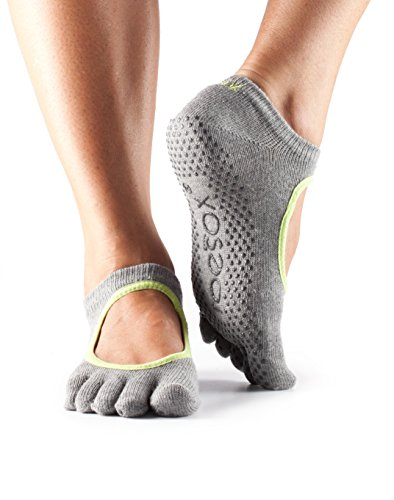 ToeSox Women's Bella Full Toe Grip Non-Slip for Yoga, Pilates, Barre, Ballet Toe Socks (Heather Grey/Lime Trim) Small