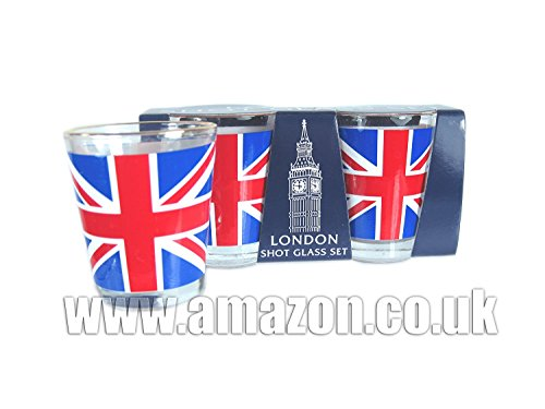 Shot Glass Set - London Souvenir Shot Glasses with Round Gol