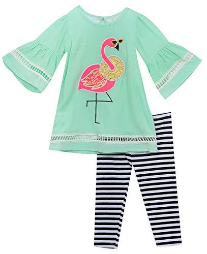 Rare Editions Girls 2T-6X Mint Flamingo Gauzy Tunic Top Pant Set (4T/4) ()