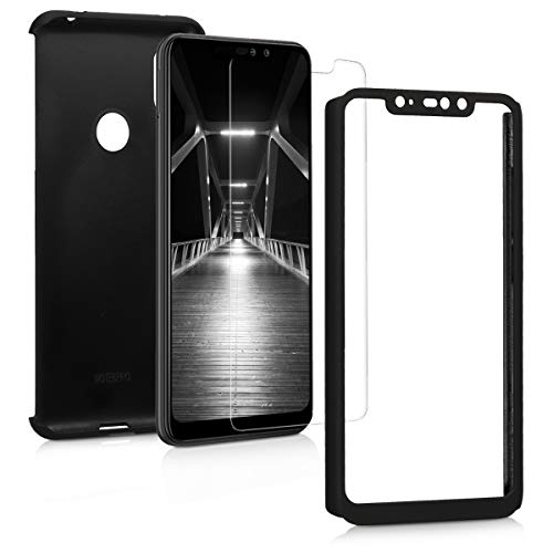 kwmobile Cover for Xiaomi Redmi Note 6 Pro - Shockproof Protective Full Body Case with Screen Protector - Metallic Black