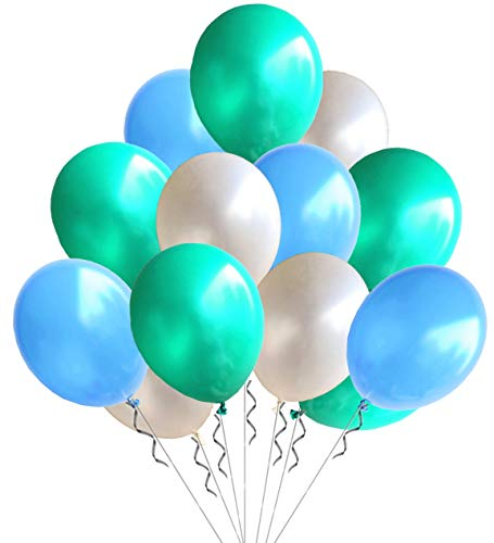Elecrainbow 100 Pack 12 Inch 3.2 g/pc Thicken Round Pearlescent Latex Party Balloons for Party Decorations, White /Light Blue /Navy Blue Assorted