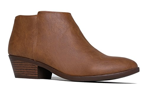 J. Adams Lexy Ankle Boot - Low Stacked Heel Closed Toe Casual Western Bootie Tan Tree Pu