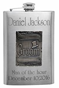 8oz Wedding Flask for the Groom, Free Personalization