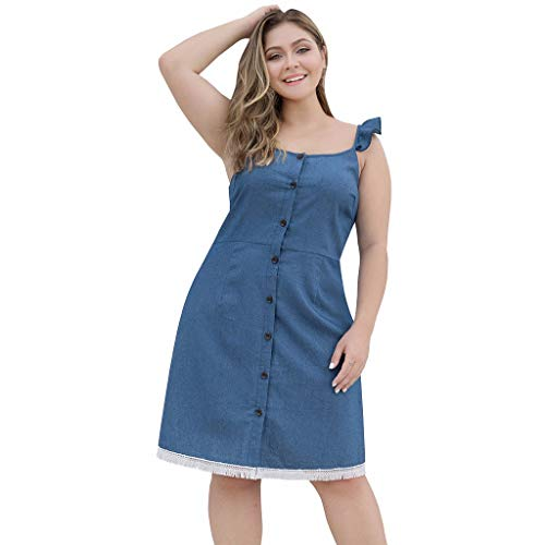Witspace Women Plus Size Casual O-Neck Wooden Ear Sling Button Tassel Denim Mini Skirt
