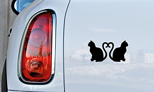 Cats Love Heart Silhouette Version 2 Car Vinyl Sticker Decal Bumper Sticker for Auto Cars Trucks Windshield Custom Walls Windows Ipad Macbook Laptop and More -
