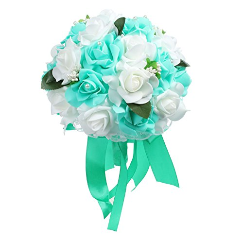 Amazon.com: VLoveLife Wedding Bouquet White & Teal Blue