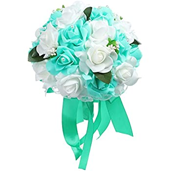 Amazon.com: Wedding bouquets Bridal Silk Flowers TURQUOISE TEAL AQUA ...